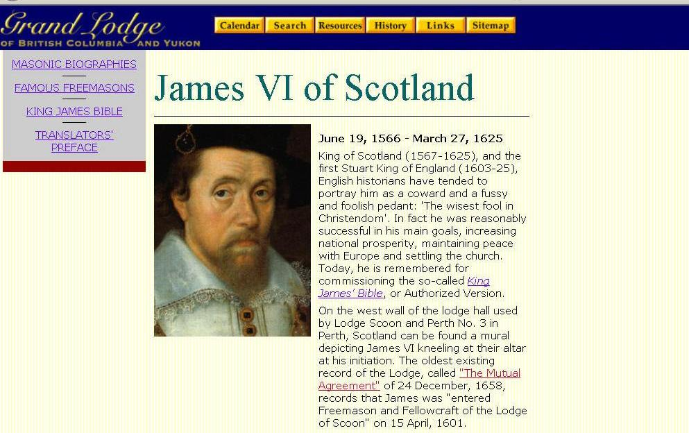 PROOF KING JAMES WAS NOT A FREEMASON